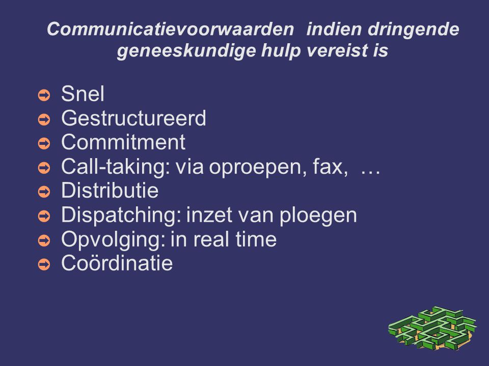 Communicatievoorwaarden indien dringende geneeskundige hulp vereist is