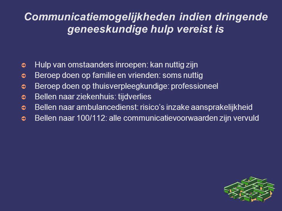 Communicatiemogelijkheden indien dringende geneeskundige hulp vereist is