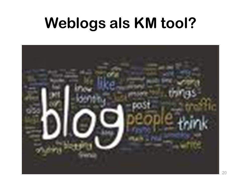 Weblogs als KM tool Volgende vraag: Kan je een weblog inzetten als Kmtool Ideeen Wat zijn voor en nadelen van blogs