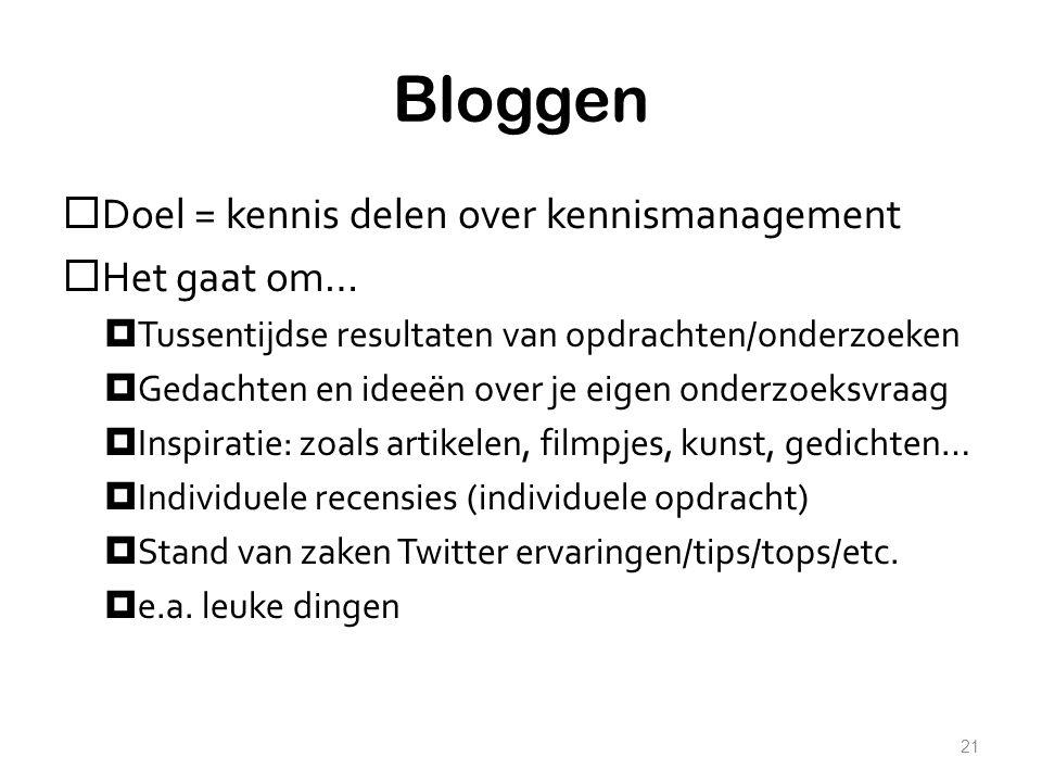 Bloggen Doel = kennis delen over kennismanagement Het gaat om…