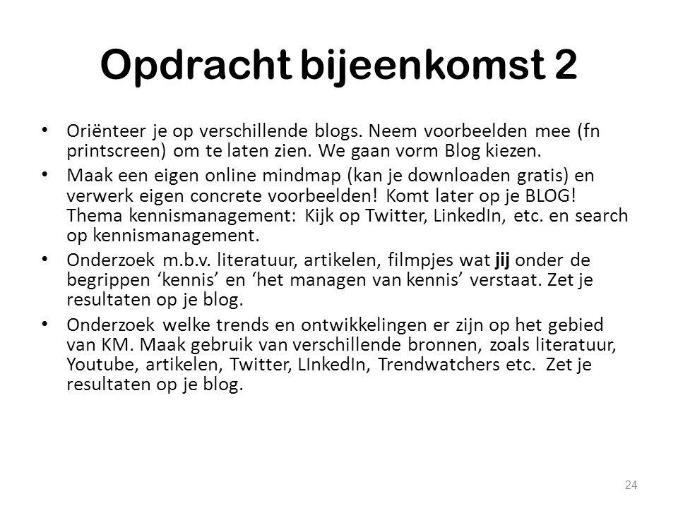 Opdracht bijeenkomst 2 Oriënteer je op verschillende blogs. Neem voorbeelden mee (fn printscreen) om te laten zien. We gaan vorm Blog kiezen.