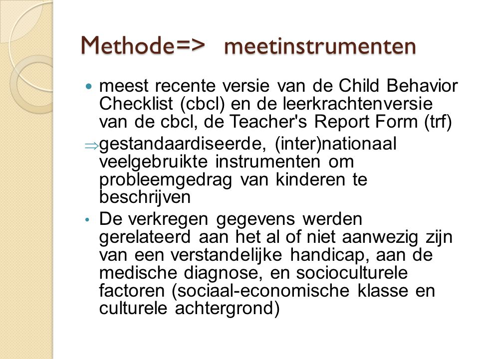 Methode => meetinstrumenten