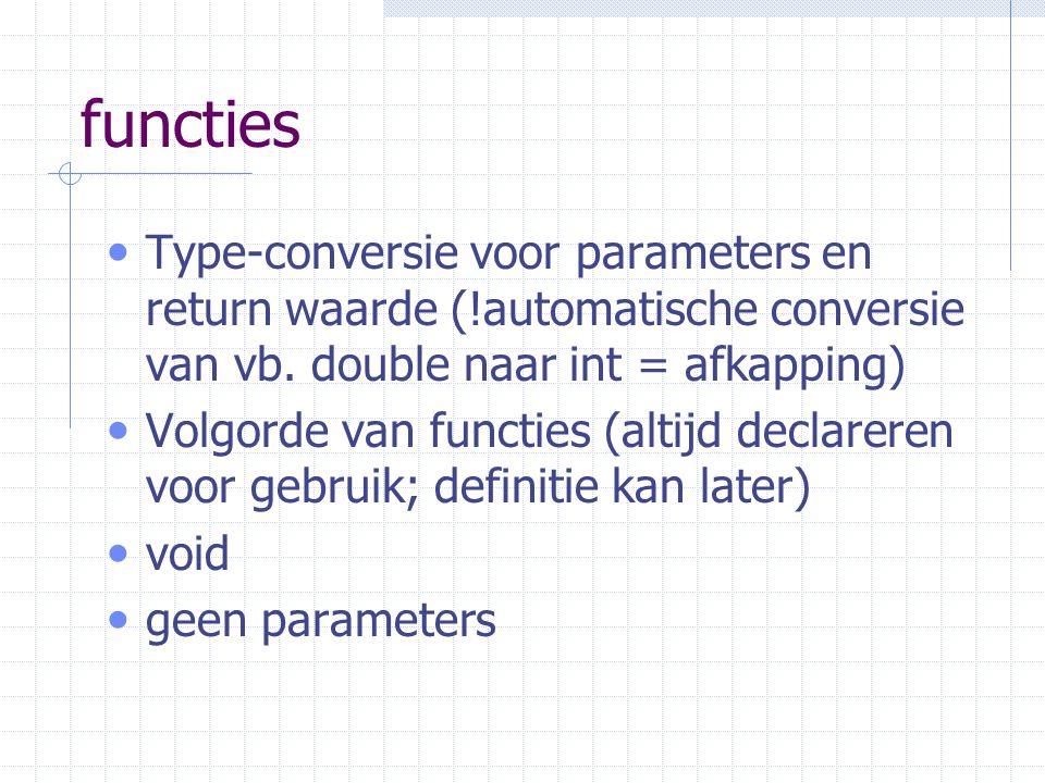 functies Type-conversie voor parameters en return waarde (!automatische conversie van vb. double naar int = afkapping)