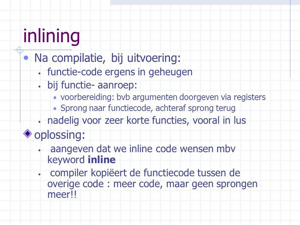 inlining Na compilatie, bij uitvoering: oplossing: