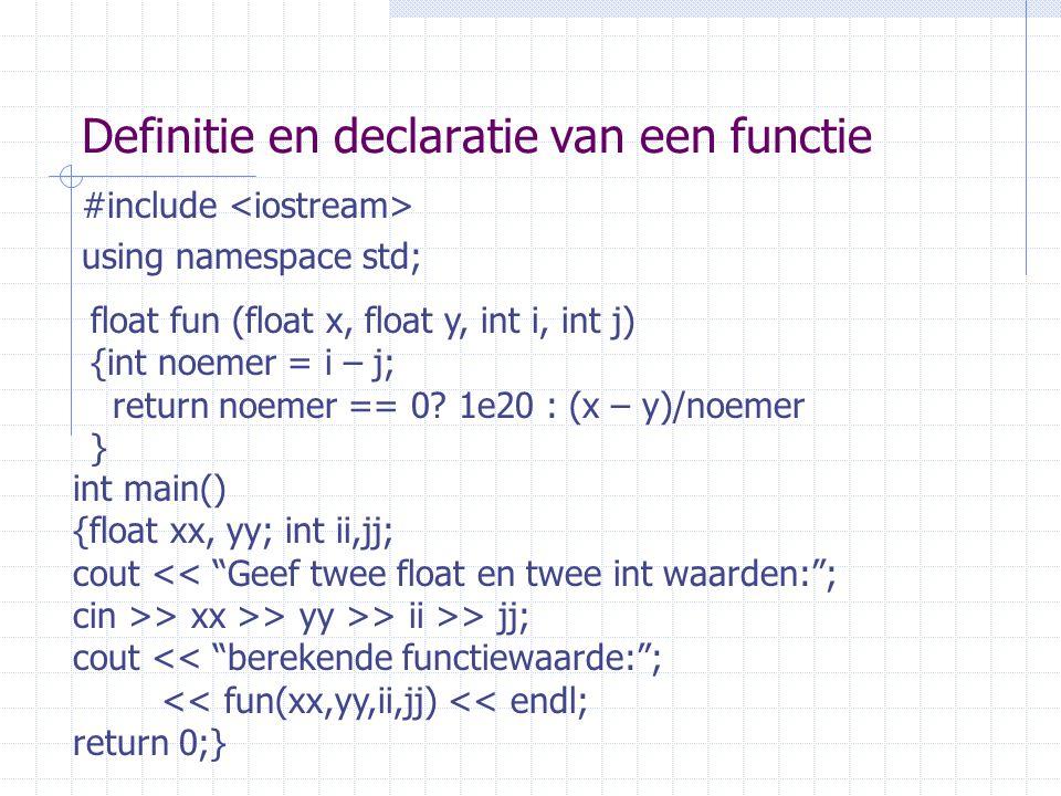 Definitie en declaratie van een functie