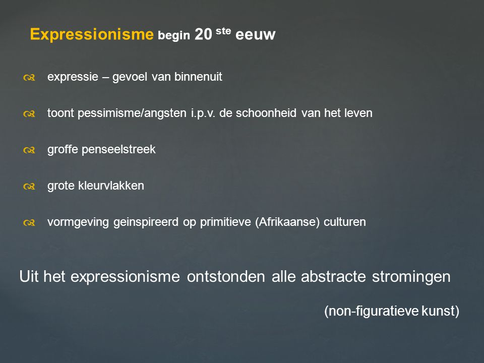Expressionisme begin 20 ste eeuw