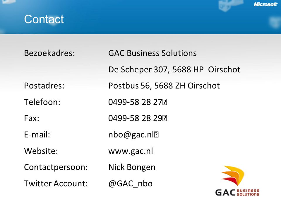 Contact Bezoekadres: GAC Business Solutions