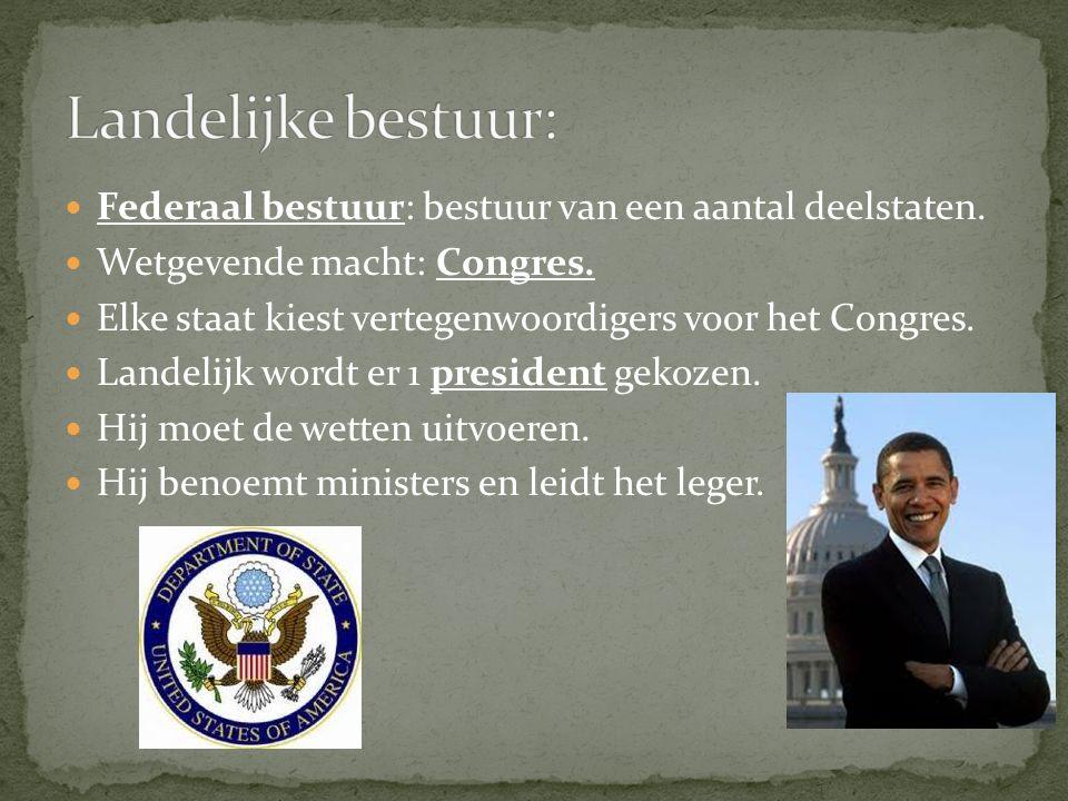 Landelijke bestuur: Federaal bestuur: bestuur van een aantal deelstaten. Wetgevende macht: Congres.