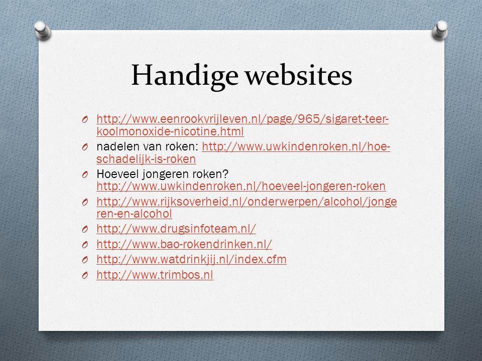 Handige websites http://www.eenrookvrijleven.nl/page/965/sigaret-teer-koolmonoxide-nicotine.html.