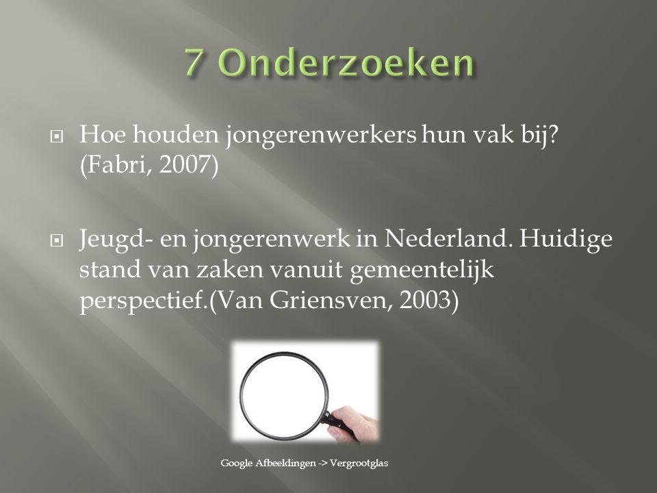 7 Onderzoeken Hoe houden jongerenwerkers hun vak bij (Fabri, 2007)