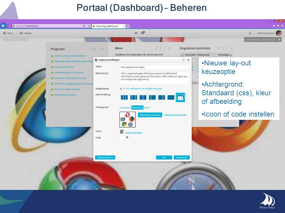Portaal (Dashboard) – Beheren