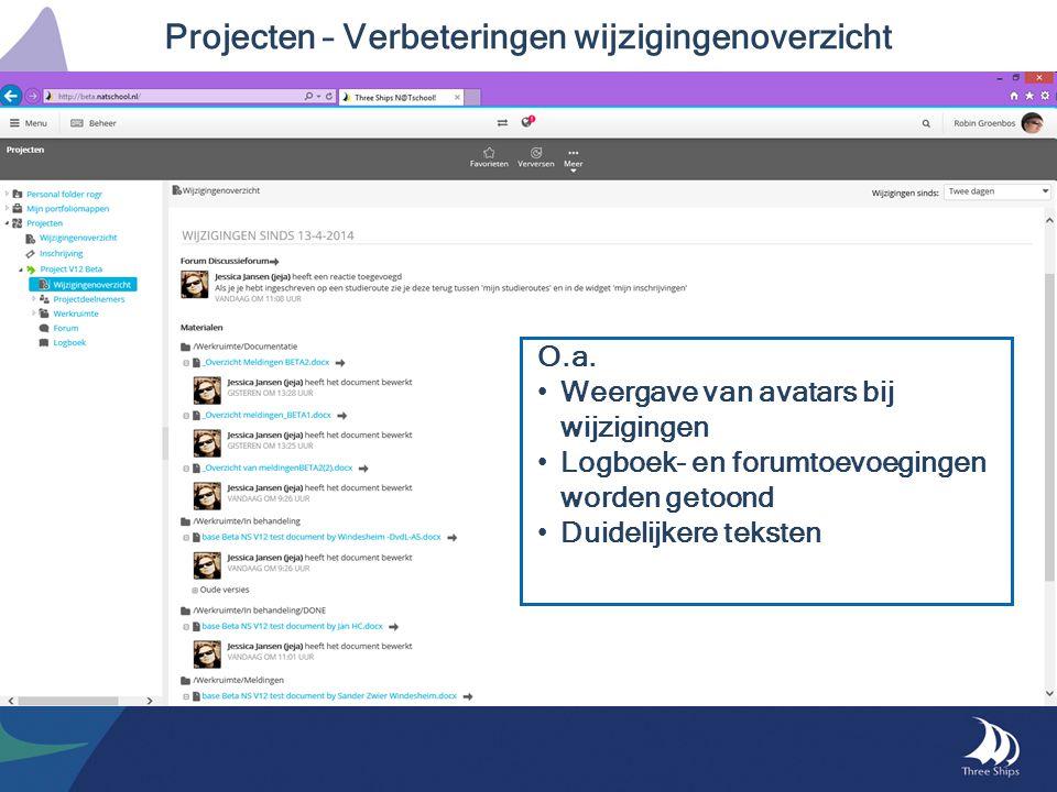Projecten – Verbeteringen wijzigingenoverzicht