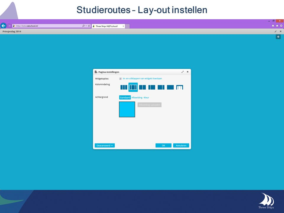 Studieroutes – Lay-out instellen