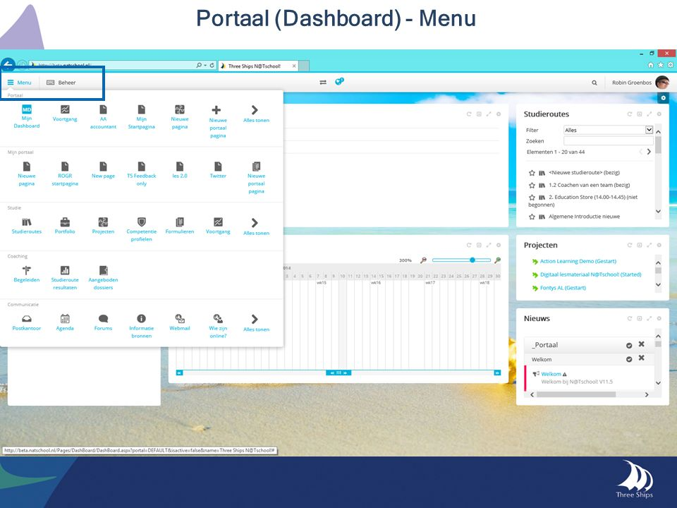 Portaal (Dashboard) - Menu