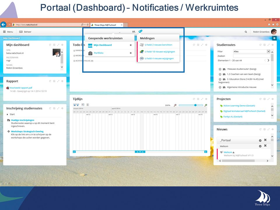 Portaal (Dashboard) – Notificaties / Werkruimtes
