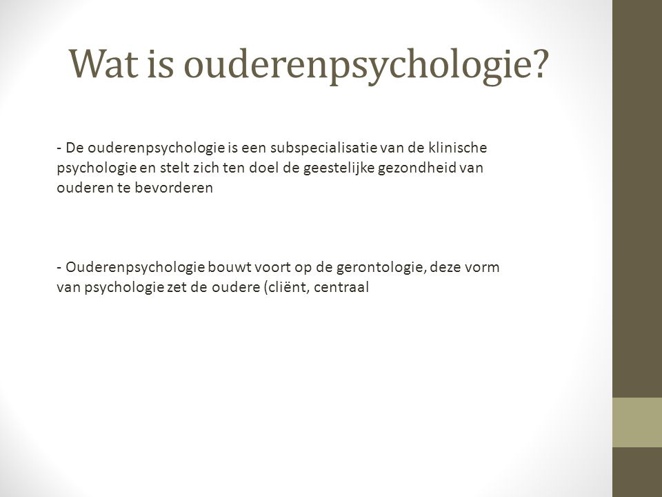 Wat is ouderenpsychologie