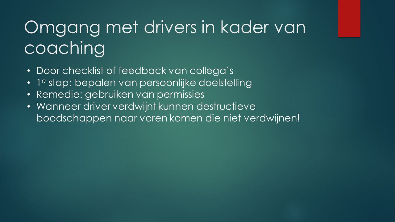 Omgang met drivers in kader van coaching