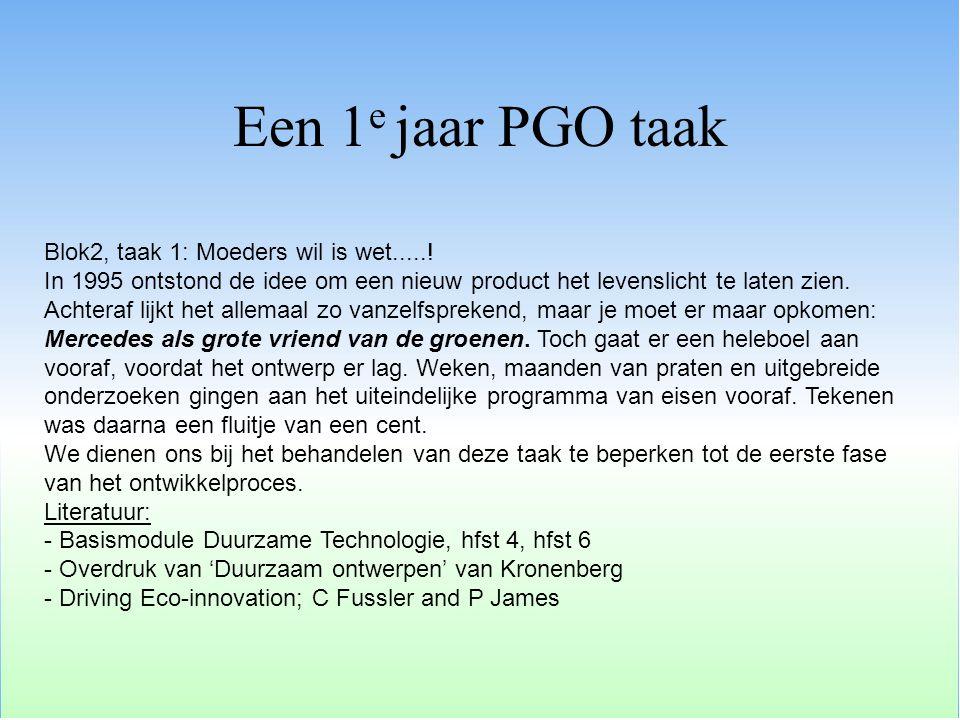 Een 1e jaar PGO taak Blok2, taak 1: Moeders wil is wet.....!