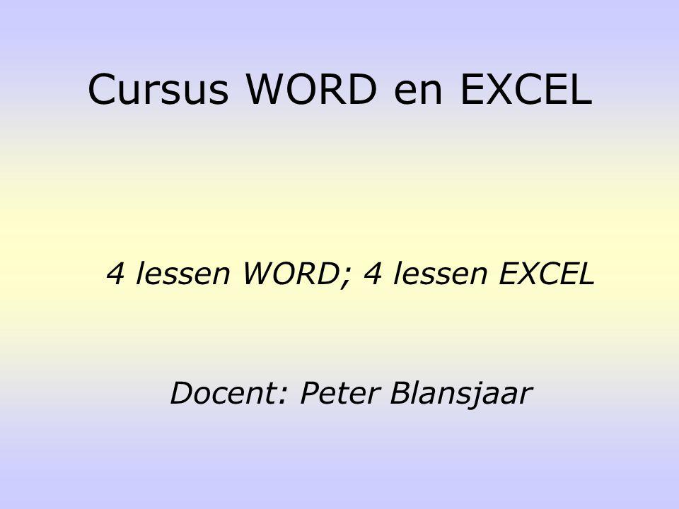 Cursus WORD en EXCEL 4 lessen WORD; 4 lessen EXCEL