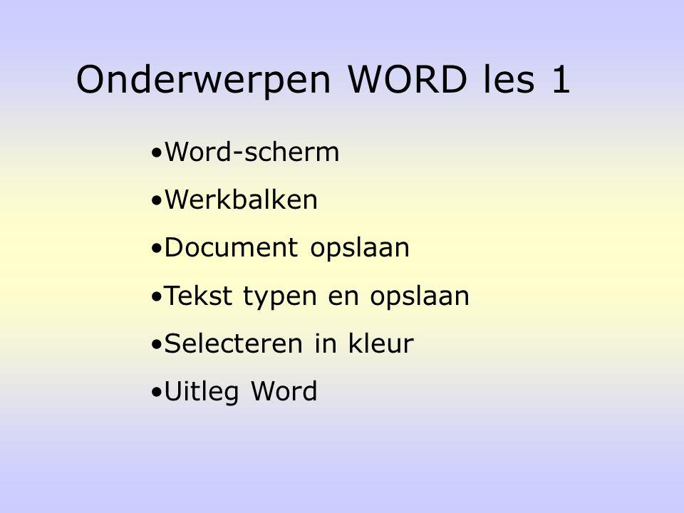 Onderwerpen WORD les 1 Word-scherm Werkbalken Document opslaan