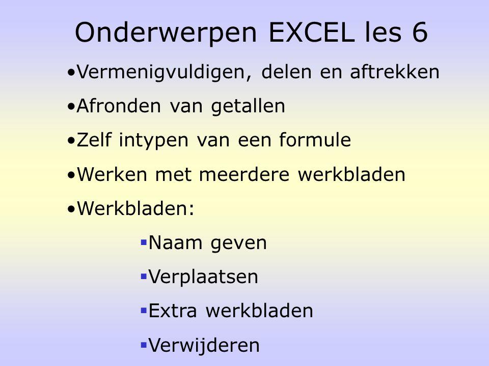 Onderwerpen EXCEL les 6 Vermenigvuldigen, delen en aftrekken