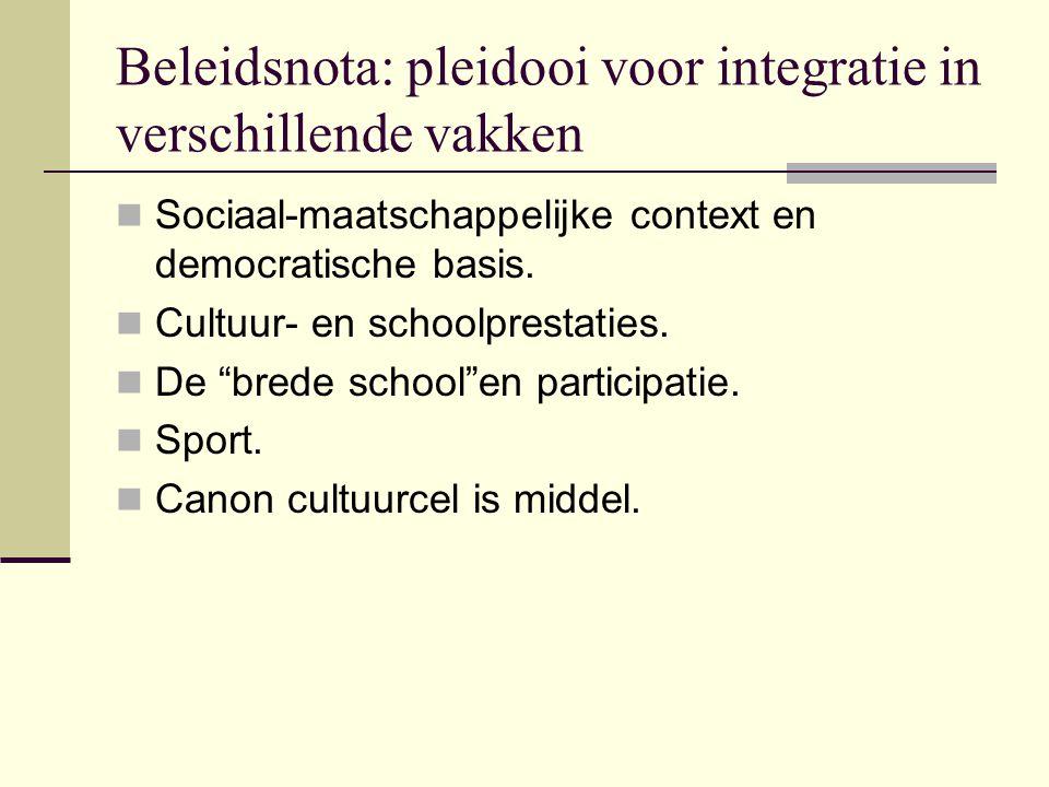 Beleidsnota: pleidooi voor integratie in verschillende vakken