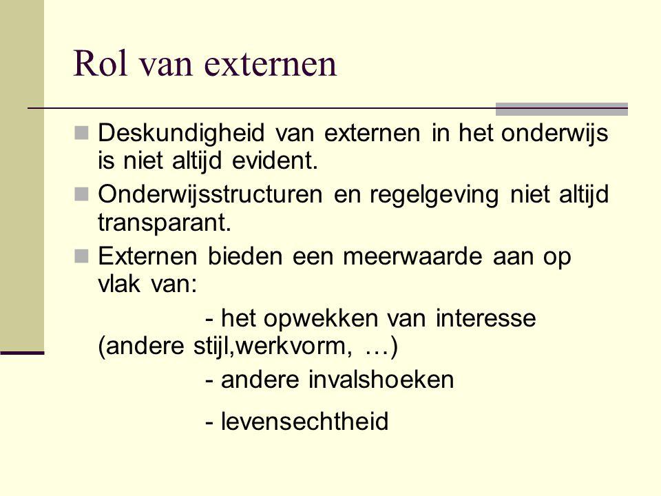 Rol van externen Deskundigheid van externen in het onderwijs is niet altijd evident. Onderwijsstructuren en regelgeving niet altijd transparant.