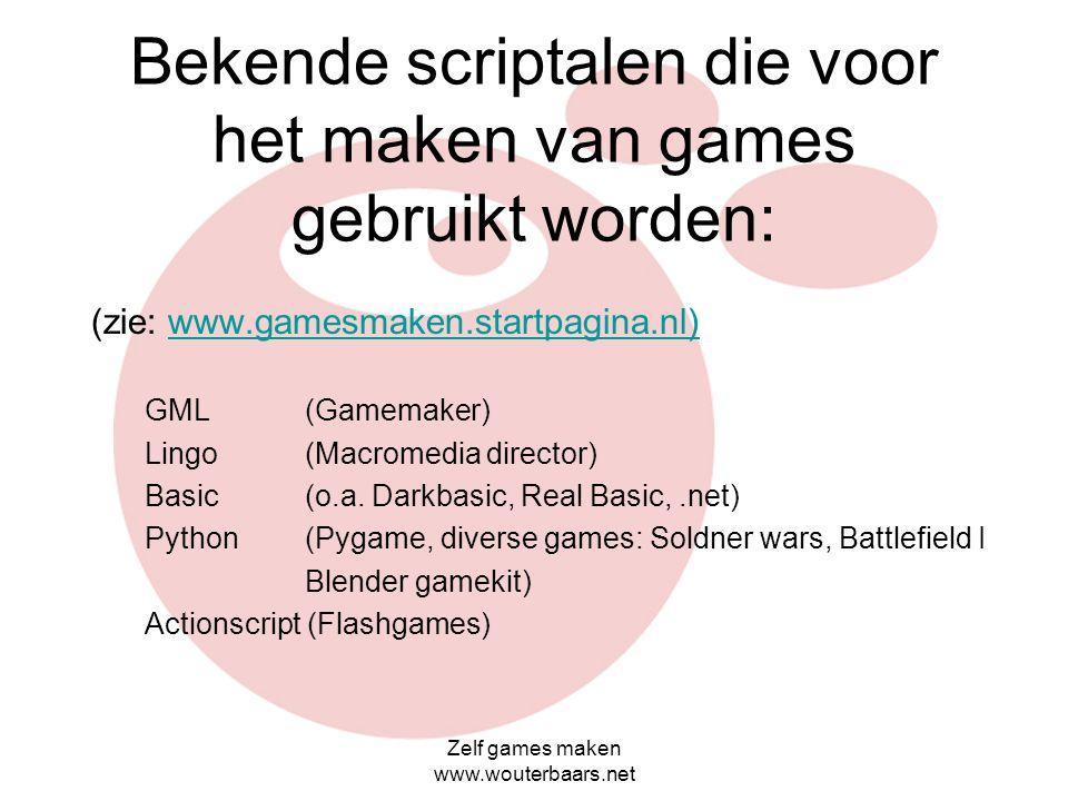 Bekende scriptalen die voor het maken van games gebruikt worden: