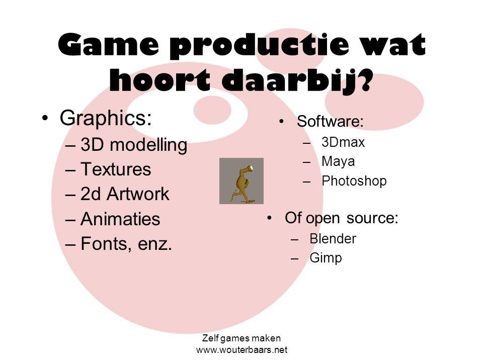 Game productie wat hoort daarbij