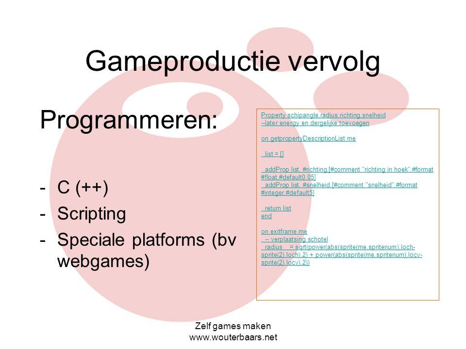 Gameproductie vervolg