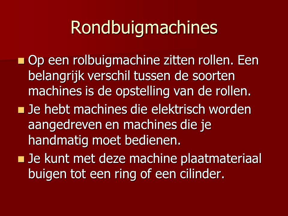 Rondbuigmachines Op een rolbuigmachine zitten rollen. Een belangrijk verschil tussen de soorten machines is de opstelling van de rollen.