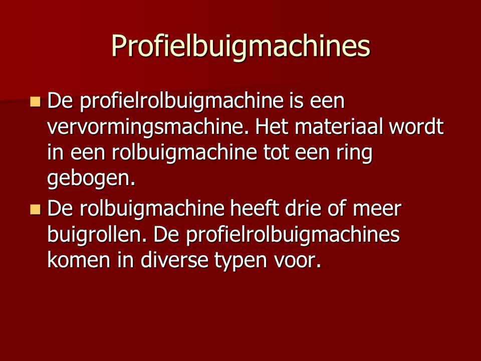 Profielbuigmachines De profielrolbuigmachine is een vervormingsmachine. Het materiaal wordt in een rolbuigmachine tot een ring gebogen.