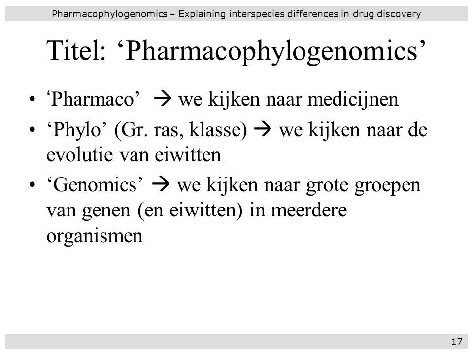 Titel: 'Pharmacophylogenomics'