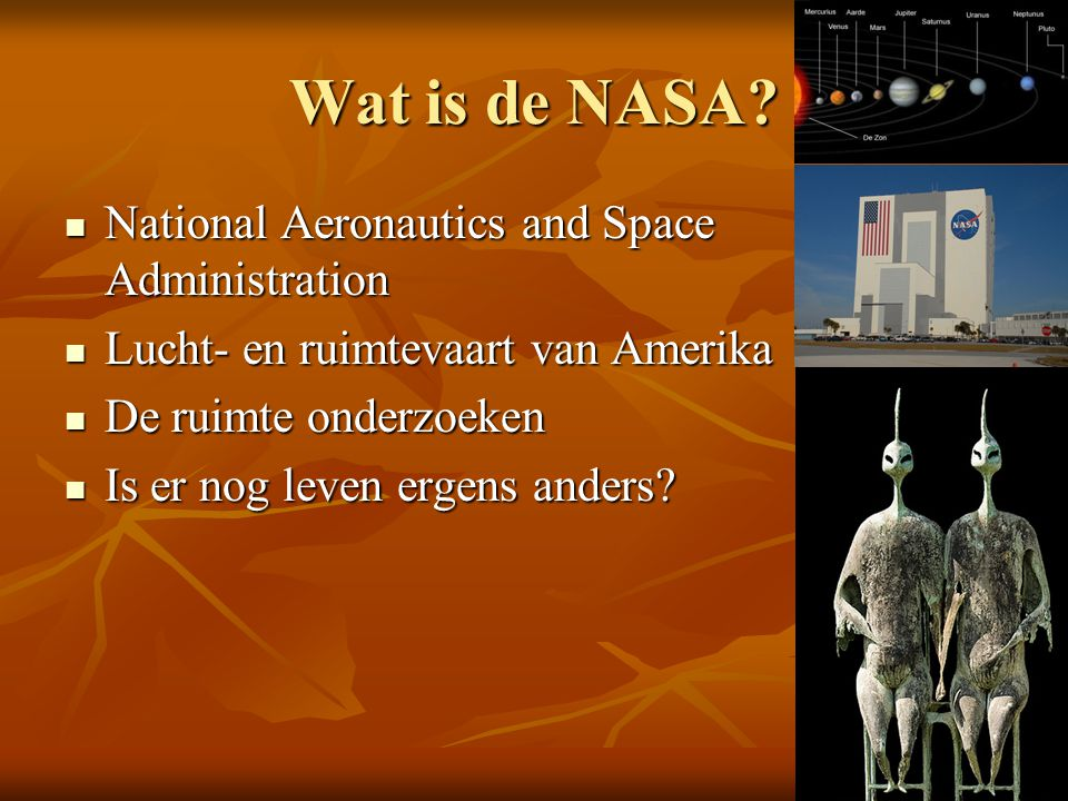 Wat is de NASA National Aeronautics and Space Administration