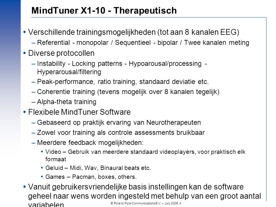 MindTuner X1-10 - Therapeutisch
