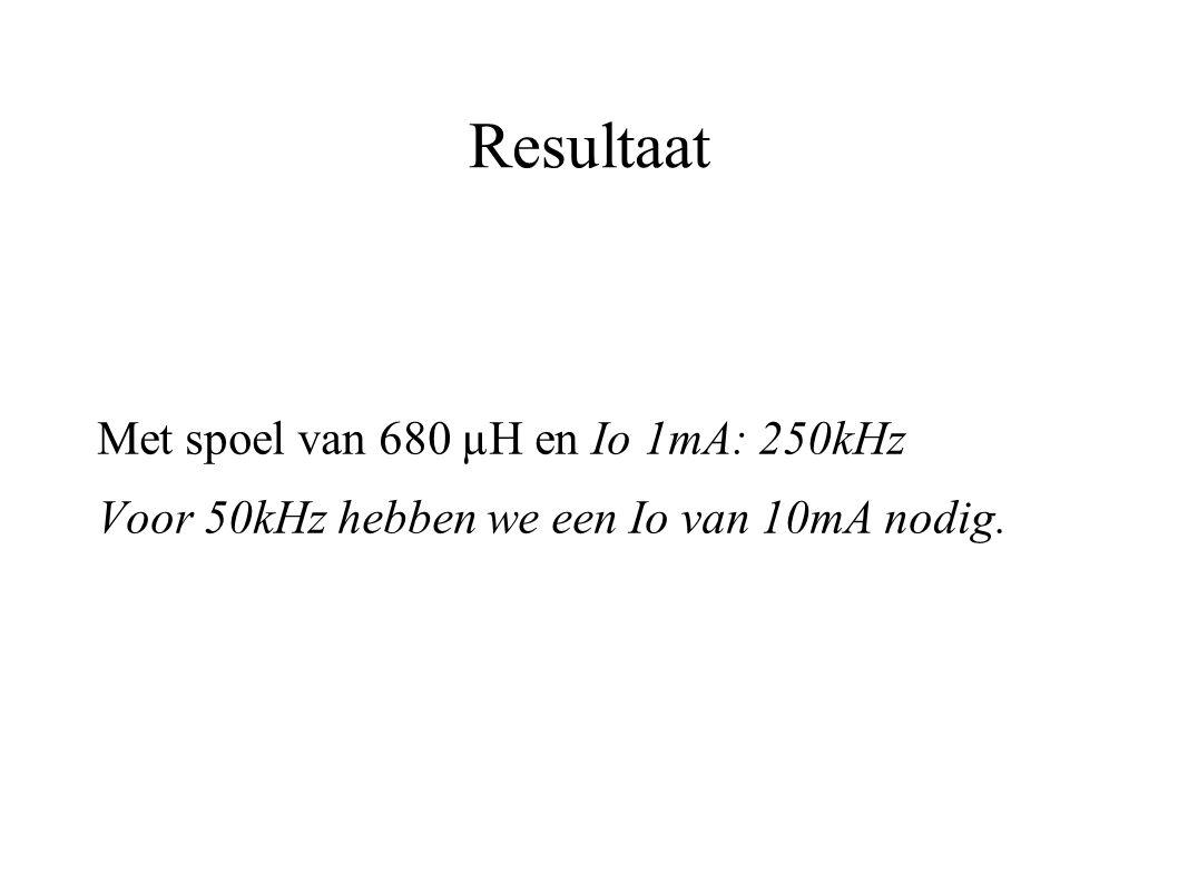 Resultaat Met spoel van 680 µH en Io 1mA: 250kHz