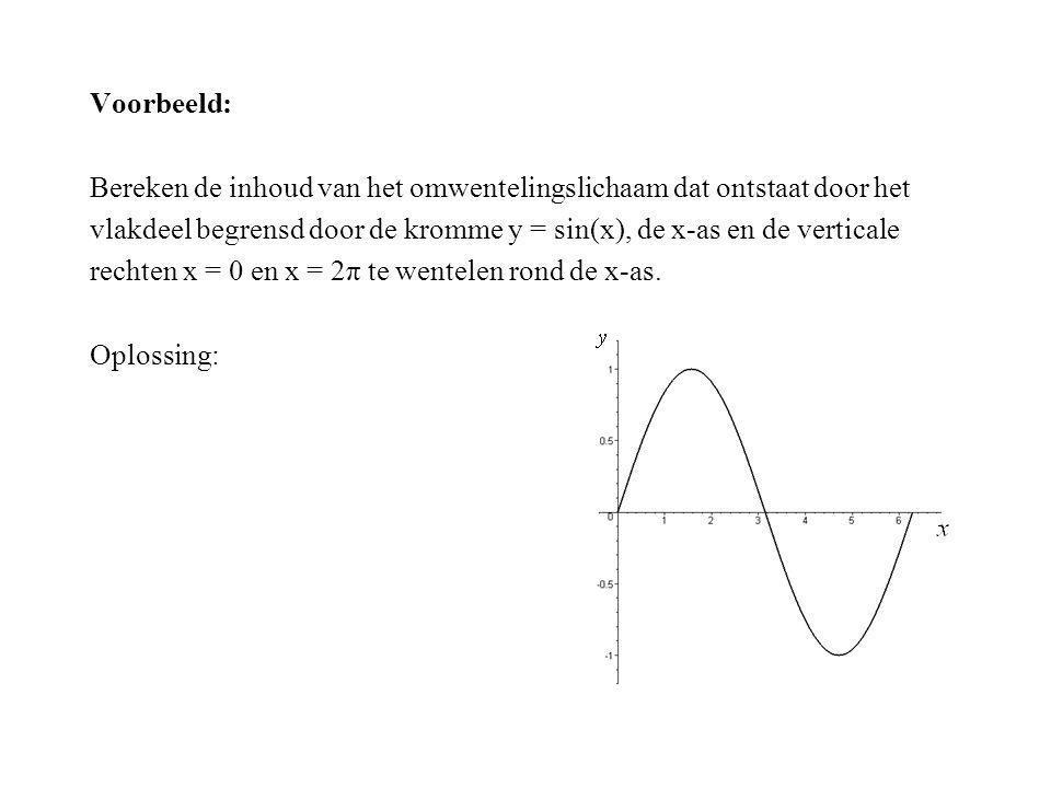 Voorbeeld: Bereken de inhoud van het omwentelingslichaam dat ontstaat door het. vlakdeel begrensd door de kromme y = sin(x), de x-as en de verticale.
