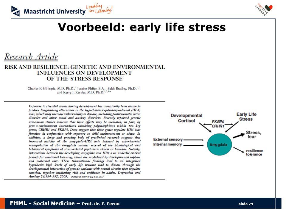 Voorbeeld: early life stress