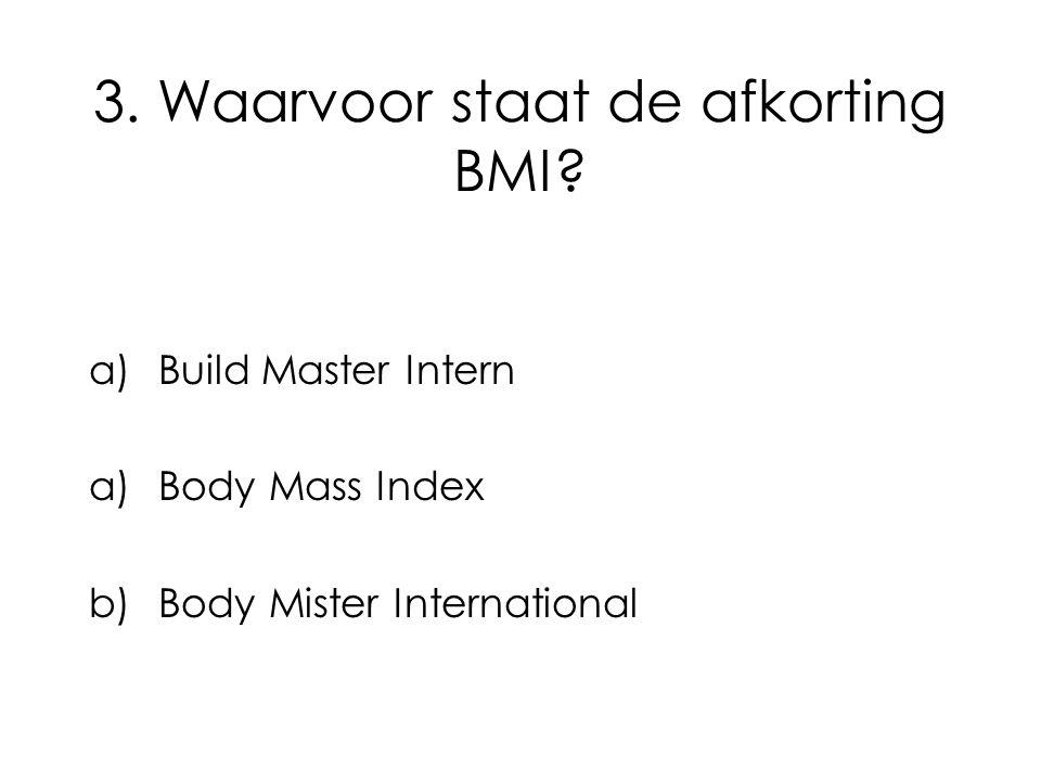 3. Waarvoor staat de afkorting BMI