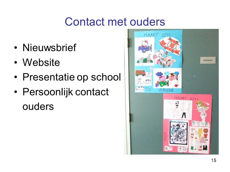 Contact met ouders Nieuwsbrief Website Presentatie op school
