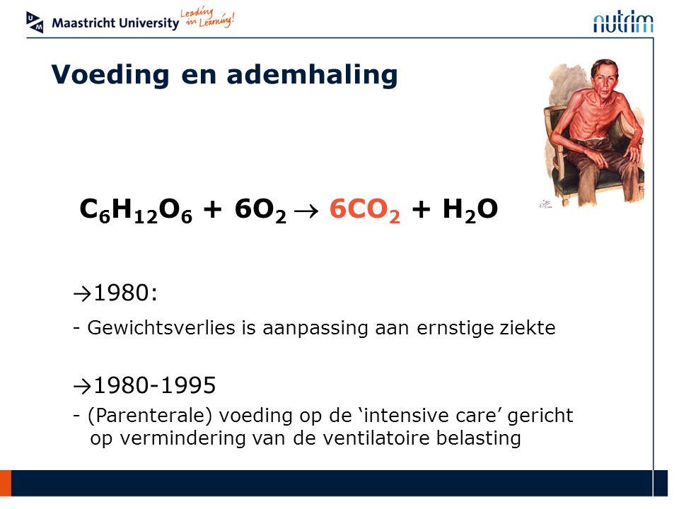 Voeding en ademhaling C6H12O6 + 6O2  6CO2 + H2O →1980:
