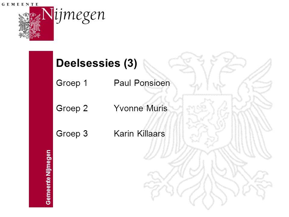 Deelsessies (3) Groep 1 Paul Ponsioen Groep 2 Yvonne Muris