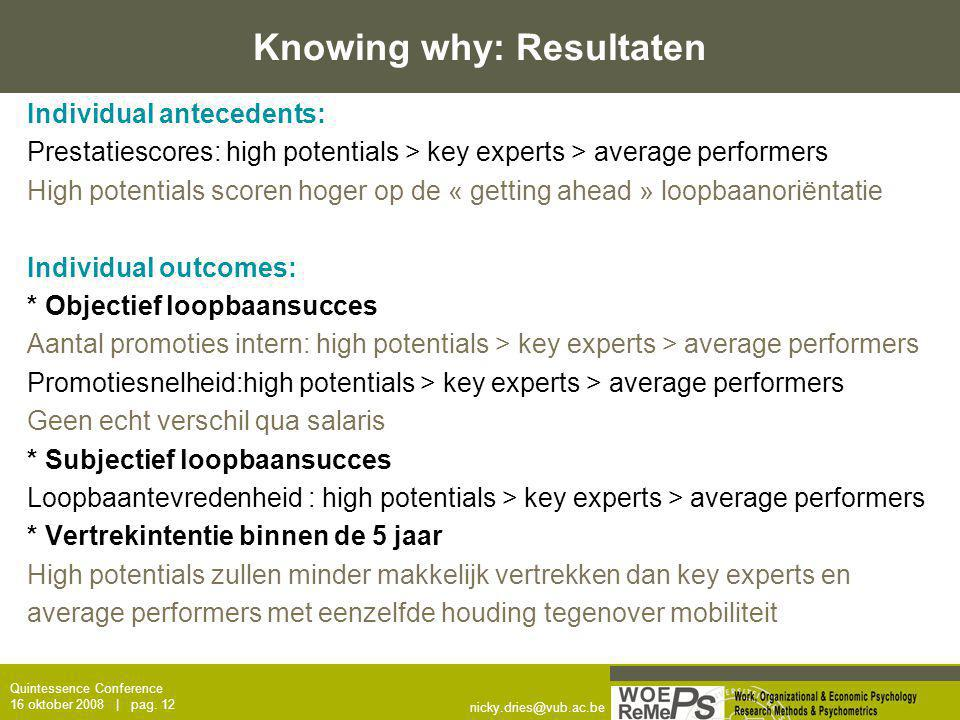 Knowing why: Resultaten