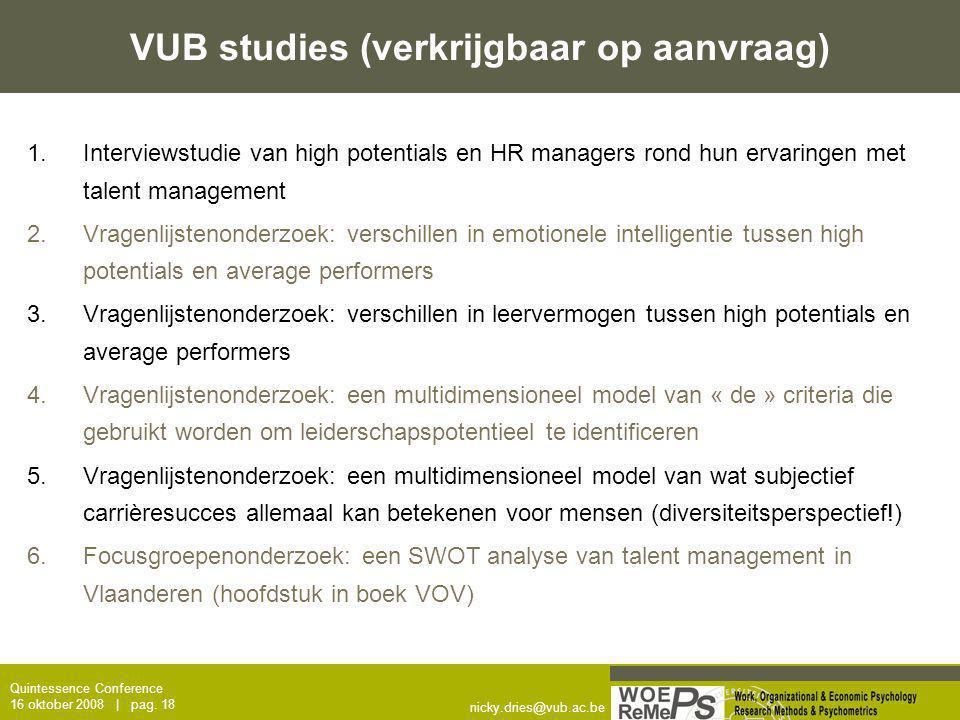 VUB studies (verkrijgbaar op aanvraag)