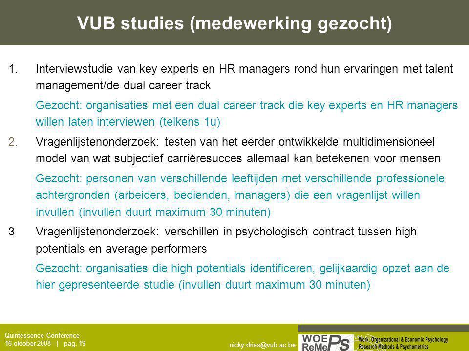 VUB studies (medewerking gezocht)