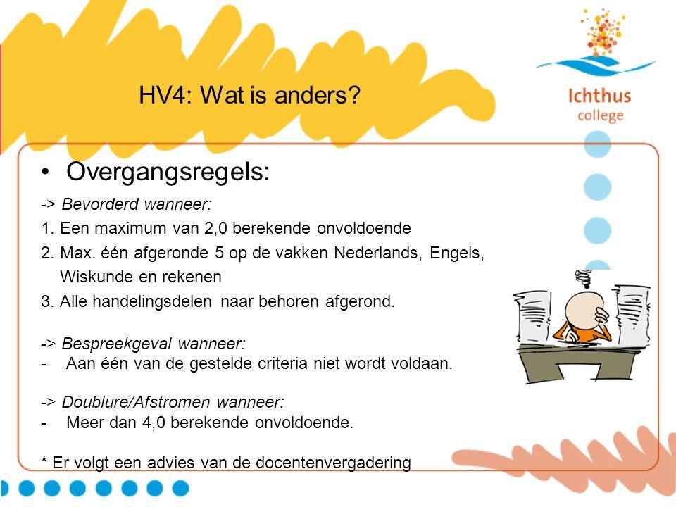 Overgangsregels: HV4: Wat is anders -> Bevorderd wanneer: