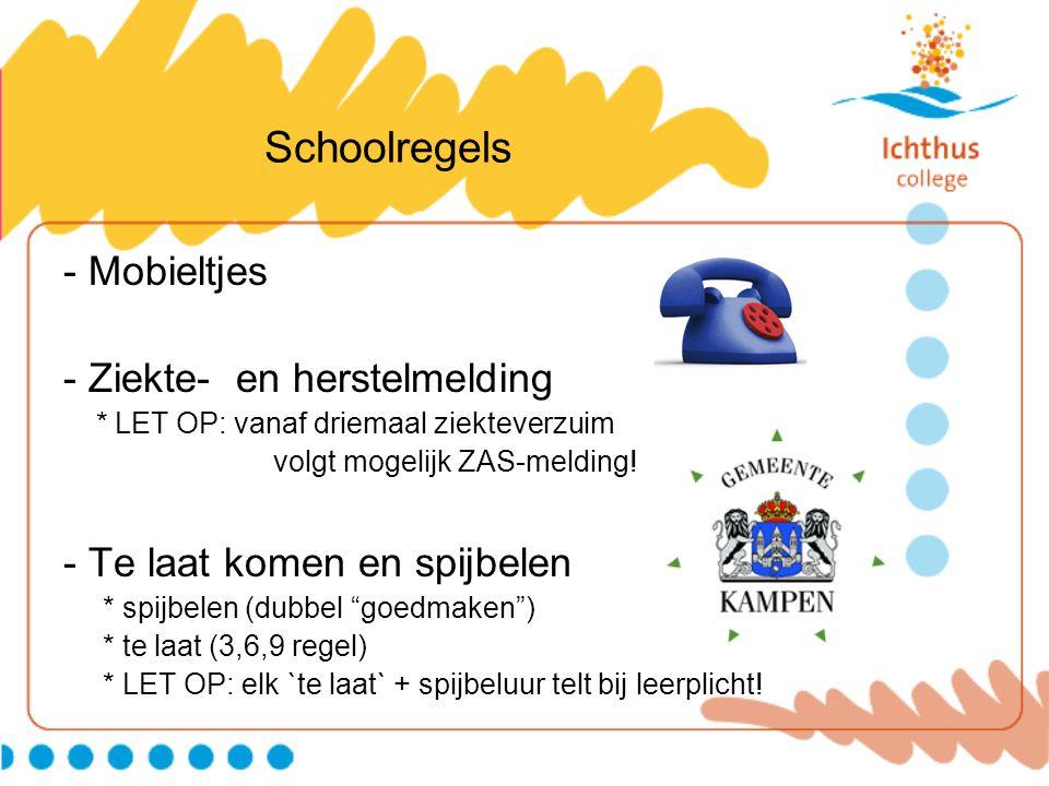 Schoolregels - Mobieltjes - Ziekte- en herstelmelding