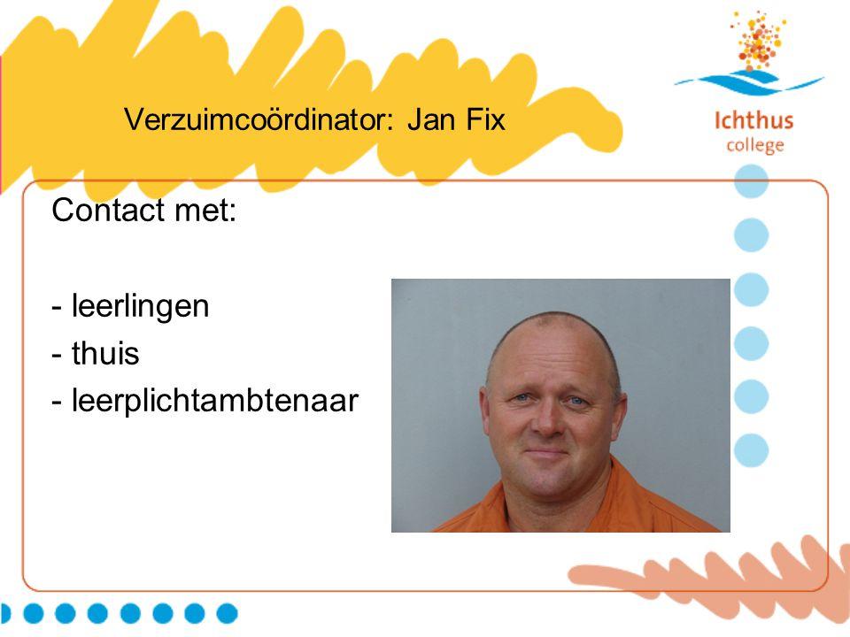Verzuimcoördinator: Jan Fix