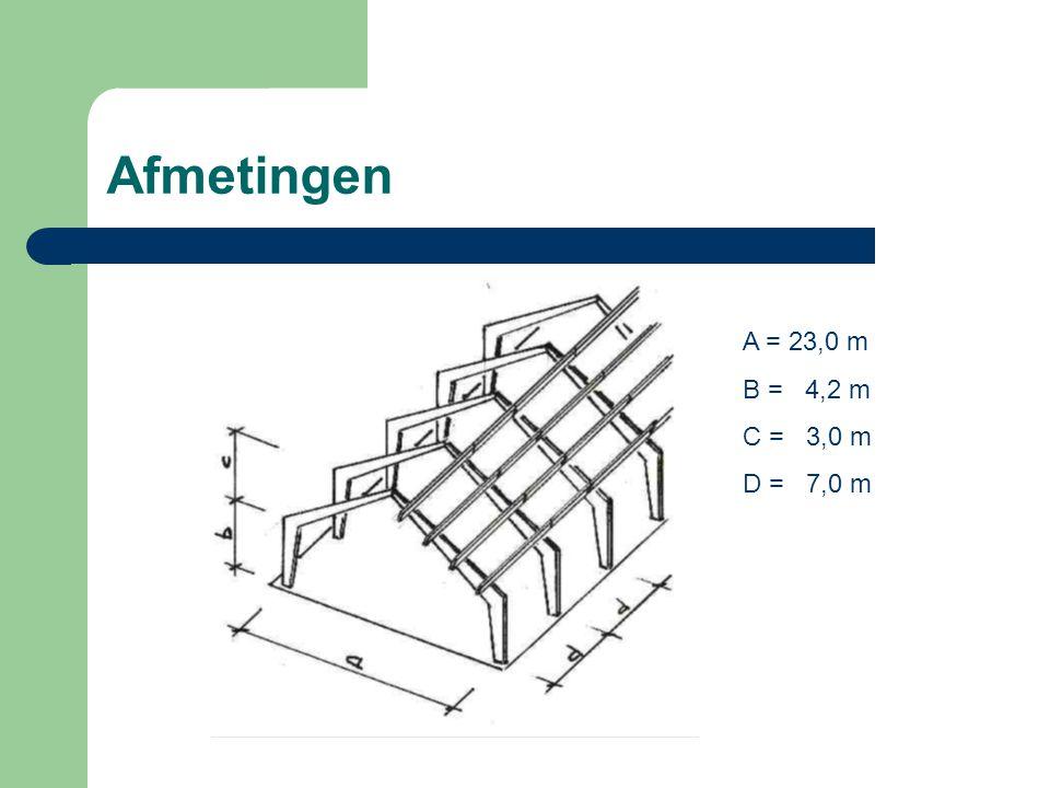 Afmetingen A = 23,0 m B = 4,2 m C = 3,0 m D = 7,0 m