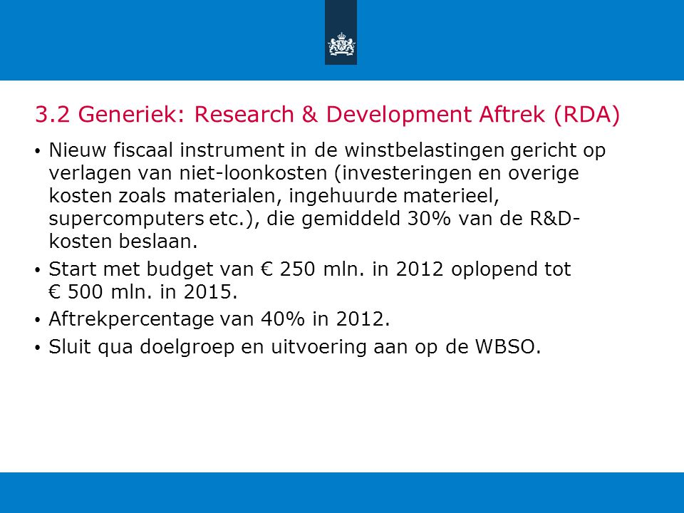 3.2 Generiek: Research & Development Aftrek (RDA)